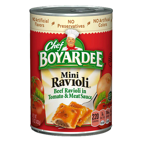 CHEF BOYARDEE Beef Ravioli is a classic crowd-pleaser and our extra large ounce can makes it easy to feed a crowd! This size is perfect for any large gathering, school function, family reunion or other event that calls for tasty food made easy.